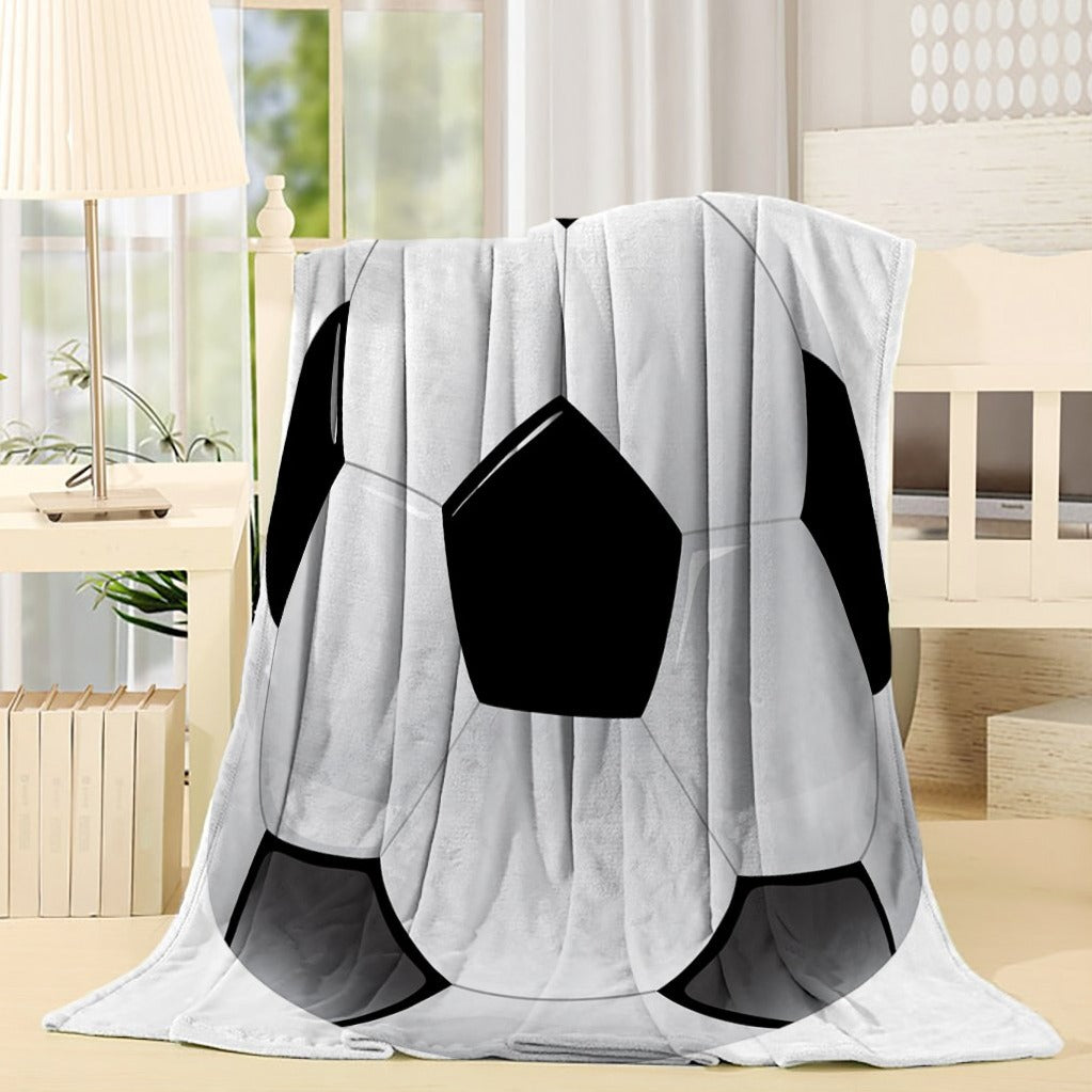 Black White Sport Football Soccer Throw Blanket