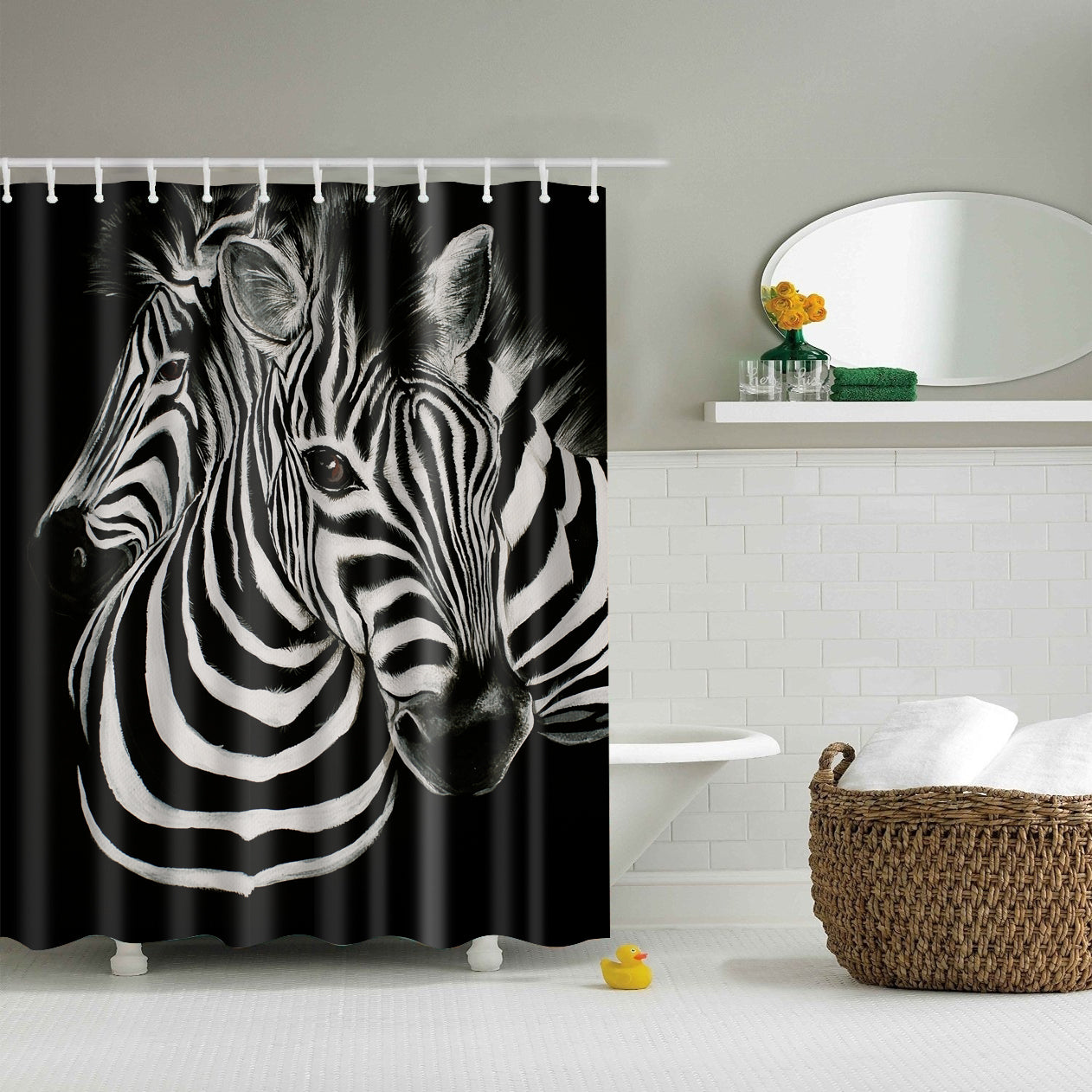 Black And White Drawing Zebra Shower Curtain