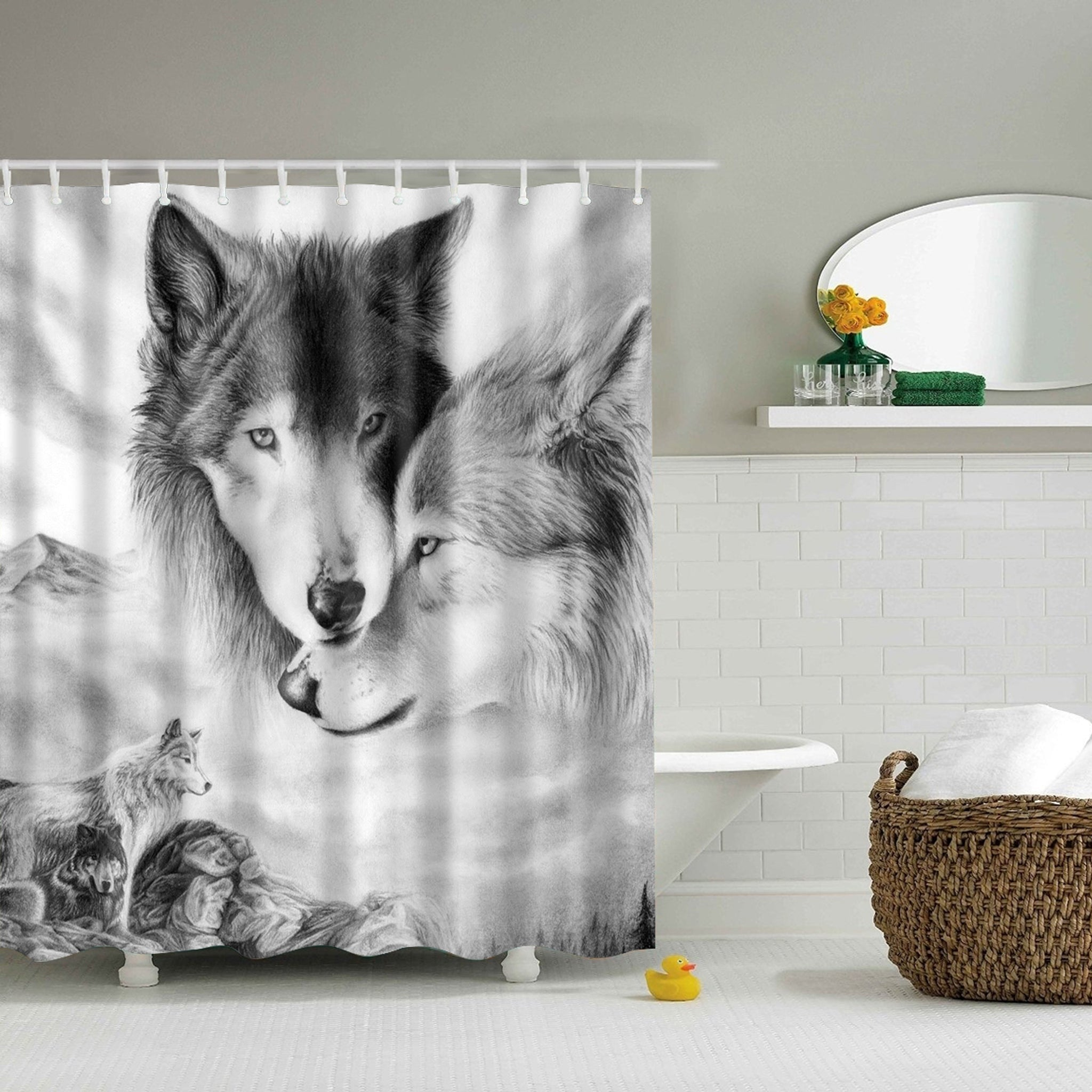 Black and White Wolf Life Shower Curtain