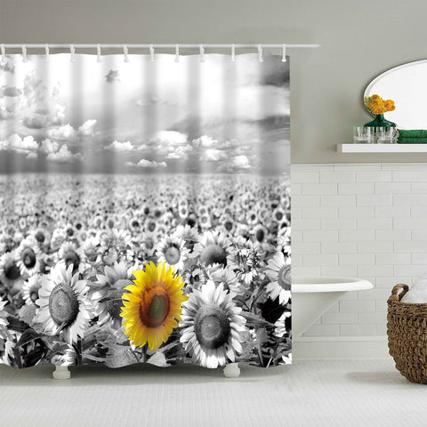 Black and White Single Primitive Yellow Sunflower Shower Curtain