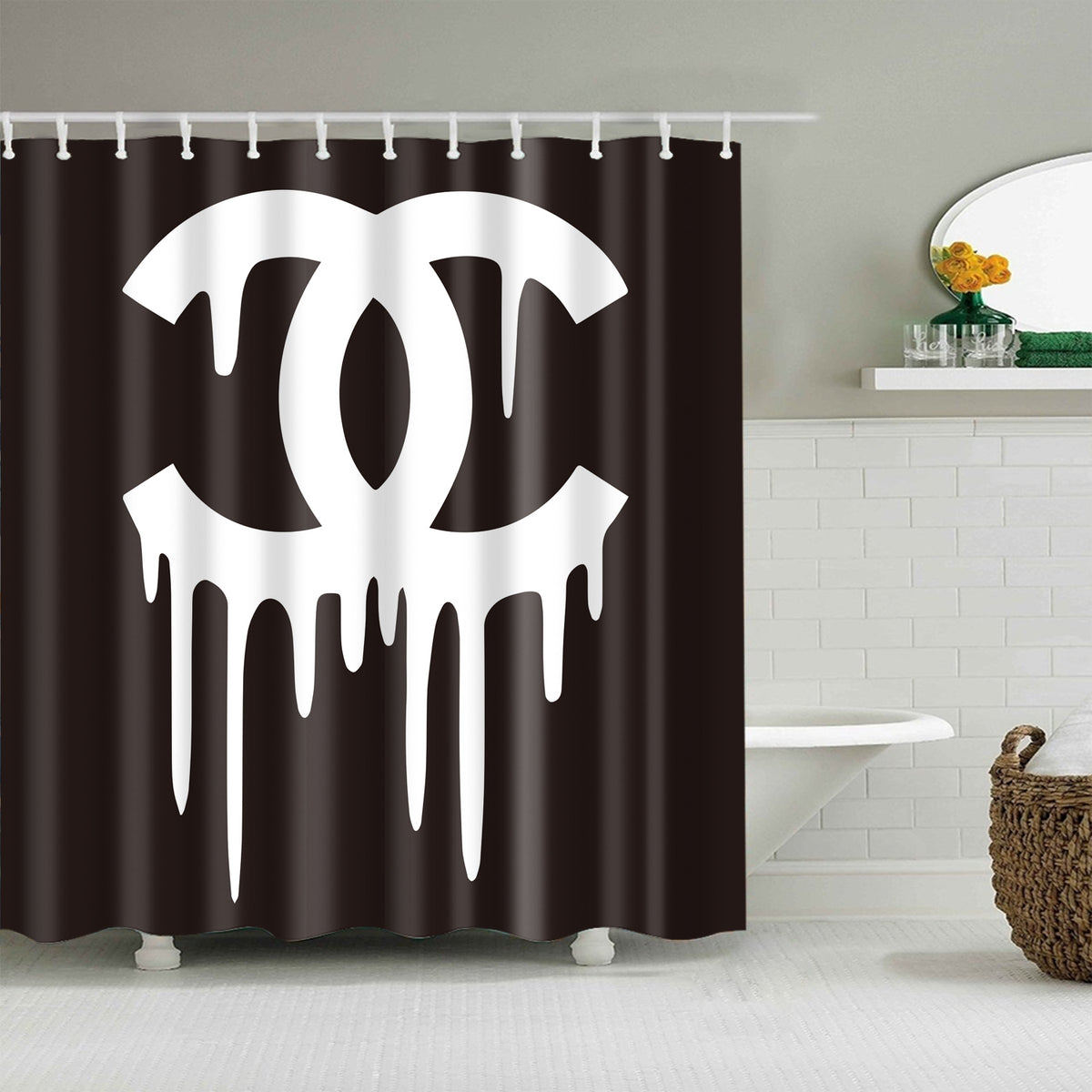 Bleeding Chanel Black White Shower Curtain