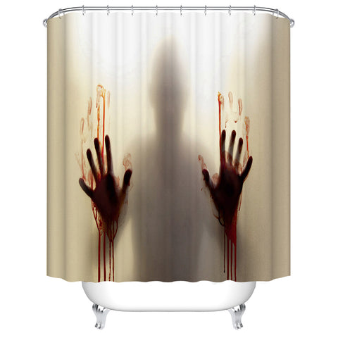 Bloody Hand Print Shadow Scary Crime Scene Shower Curtain Bathroom Decor