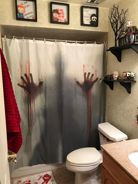 Bloody Hand Print Shadow Scary Shower Curtain