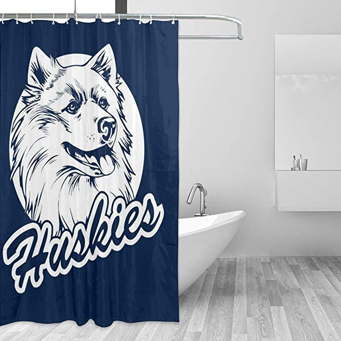 Blue Backdrop Husky Dog Pet Huskies Shower Curtain