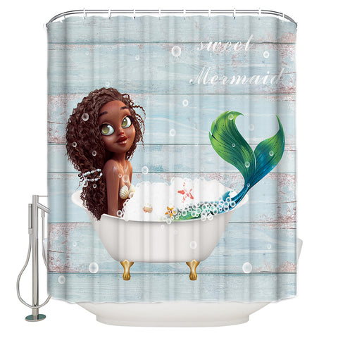 Blue Barn Door Backdrop Bathing Time Cute Afro Black Little Mermaid Shower Curtain