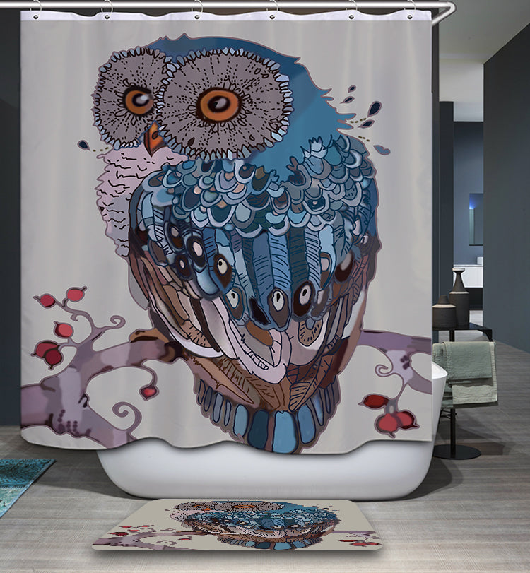 Blue Feather Oil Painting Owl Hanging Tree Screech Owl Shower Curtain