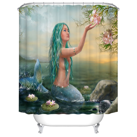 Blue Hair with Zen Style Lotus Coastal Mermaid Shower Curtain