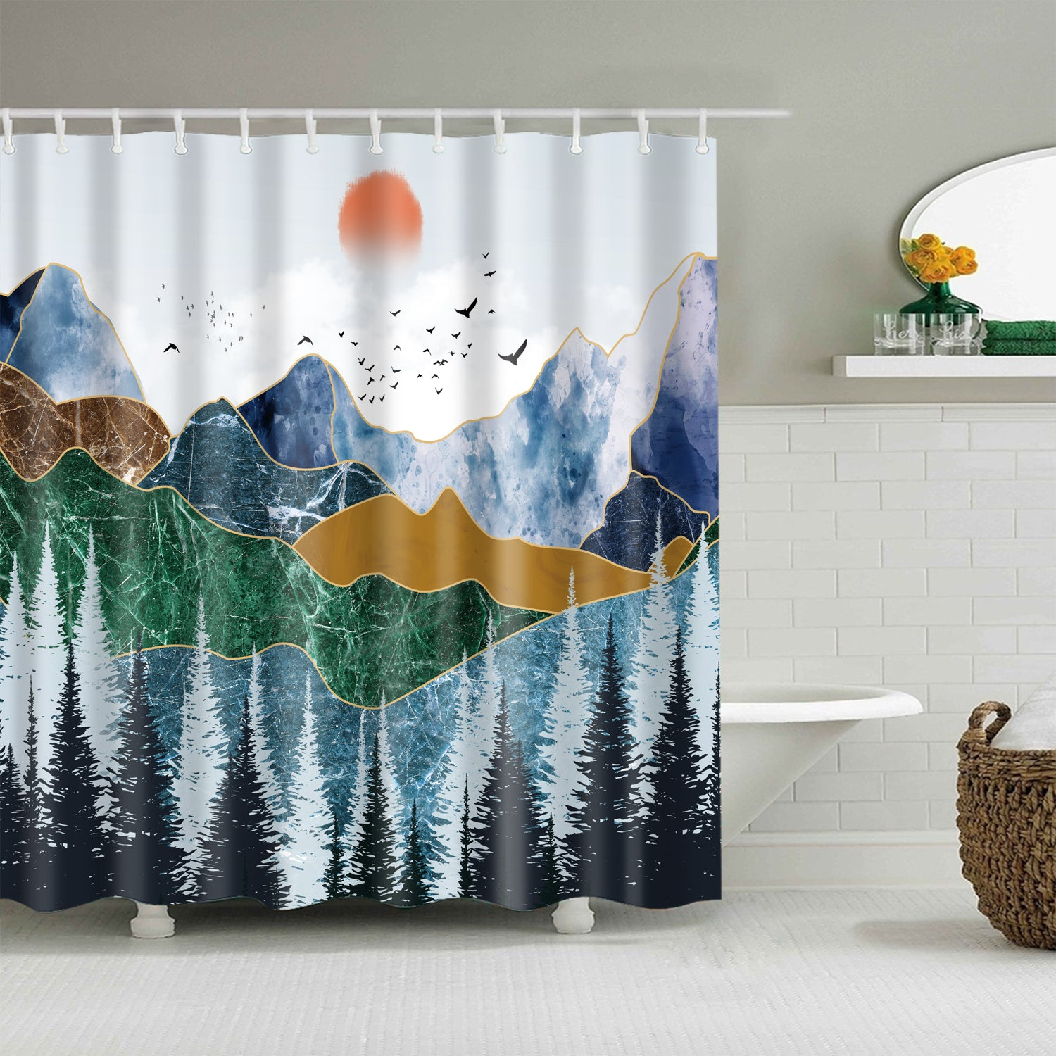 Blue Mountain Reflection Pastel Sunset Shower Curtain