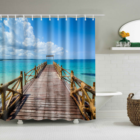 Blue Sea Sky Pier Wooden Boardwalk Shower Curtain