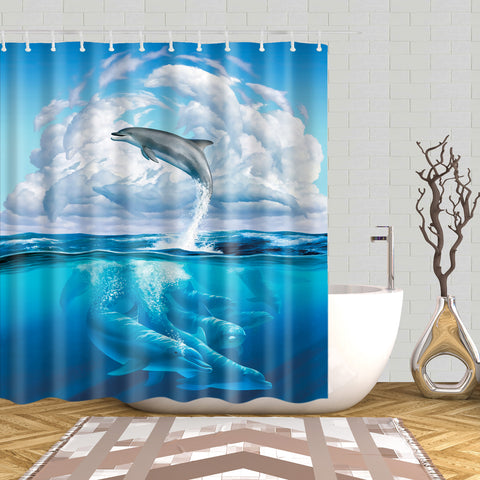 Blue Seascape with Sky Ocean Dolphin Shower Curtain