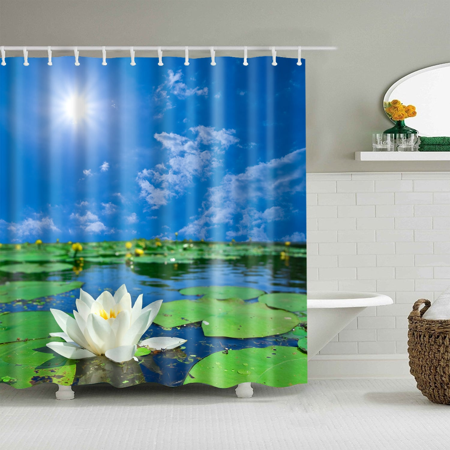 Blue Sky Sunshine Zen Lake Pond Beautiful Water Lily Shower Curtain