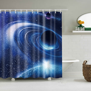 Blue Universe Star Galaxy Planet with Sunrise Shower Curtain