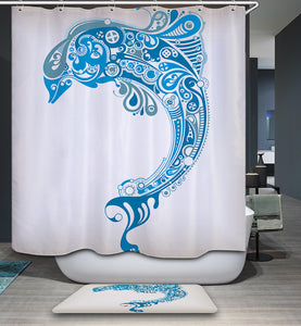 Blue Abstract Art Jumping Dolphin Shower Curtain