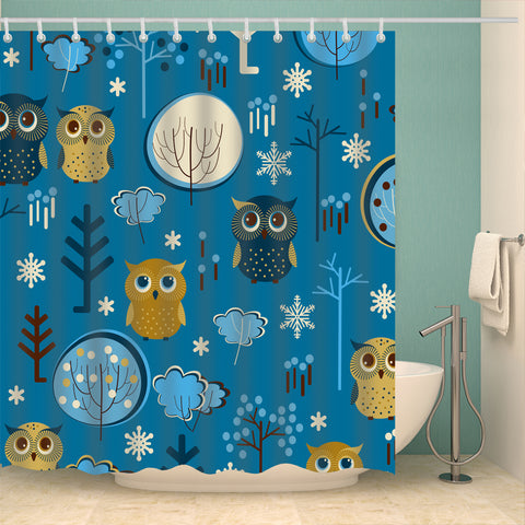 Blue Backdrop Cartoon Seamless Tree Owl Shower Curtain
