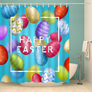 Blue Backdrop Colorful Eggs Greeting Easter Holiday Shower Curtain