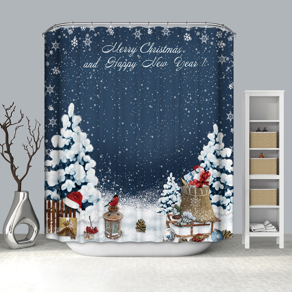 Blue Backdrop with Christmas Gift Holiday Shower Curtain