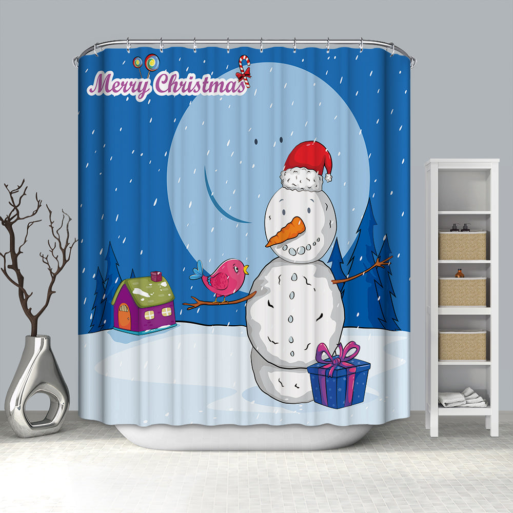 Blue Big Moon with Snowman and Cardinal Bird Shower Curtain