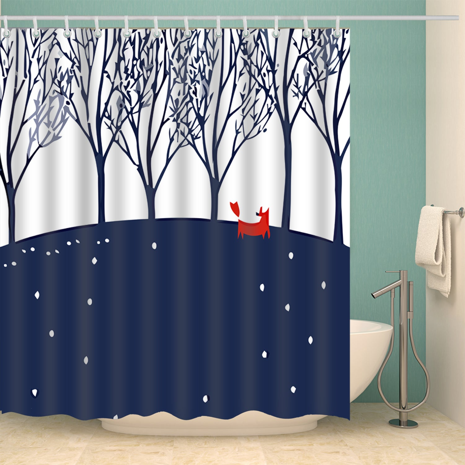 Blue Brich Tree with Dog Art Shower Curtain