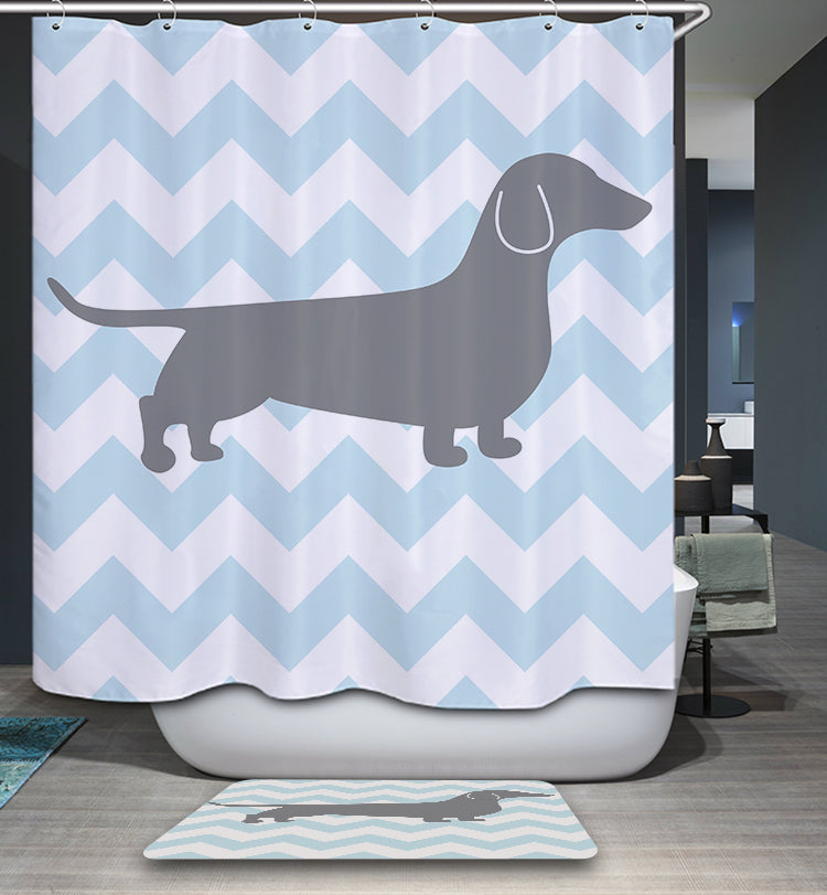 Blue Chevron Dachshund Shadow Shower Curtain