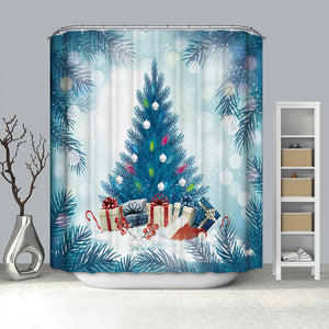 Blue Christmas Tree Design Shower Curtain