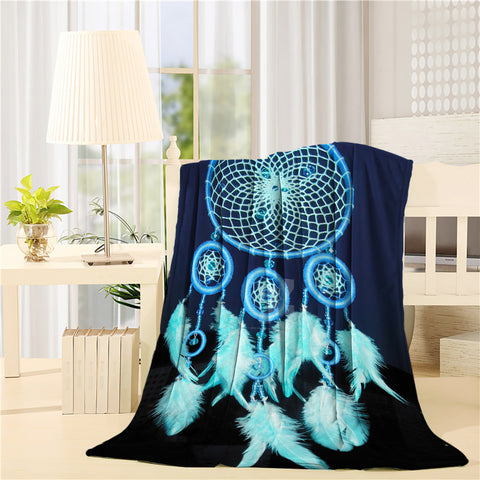 Blue Design Dream Catcher Throw Blankets