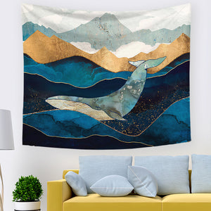 Blue Gold Mountain with Ocean Moonlit Whales Tapestry