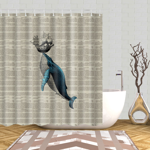 Blue Humpback Whale Hit Boat Newspaper Shower Curtain