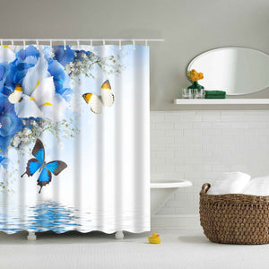 Blue Magic Butterfly Over Water Shower Curtain | GoJeek