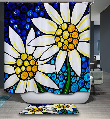 Blue Mosaic Backdrop White Daisies Painting Shower Curtain