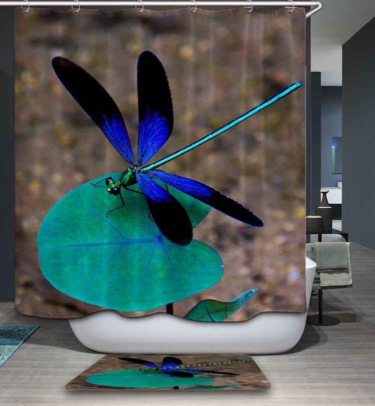 Blue Nature Dragonfly Shower Curtain