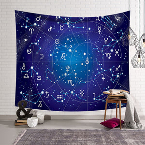 Blue Print Astronomy Constellations of Zodiac Sky Map Tapestry
