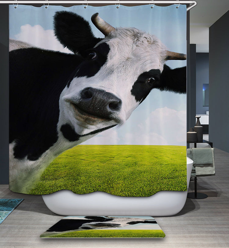 Blue Sky Dairy Cow Shower Curtain