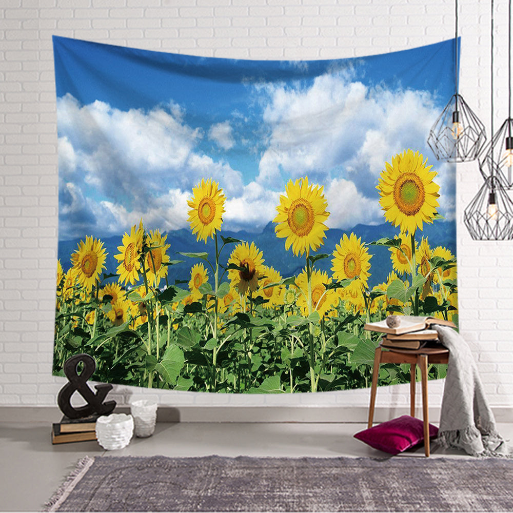 Blue Sky Natural Sunflower Field Tapestry