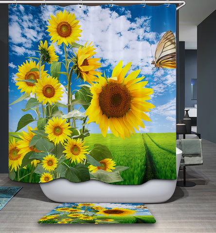 Blue Sky Sunflowers Field Shower Curtain