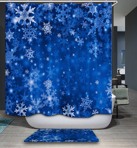 Blue Snowflake Christmas Shower Curtain