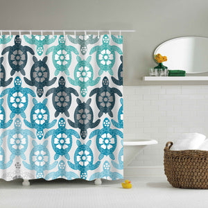 Blue Teenager Turtle Shower Curtain