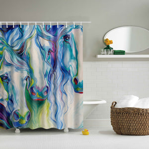 Blue Three Horse Art Shower Curtain | GoJeek