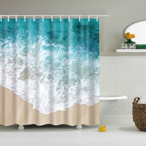 Blue Waves Clear Beach Style Coastal Shower Curtain
