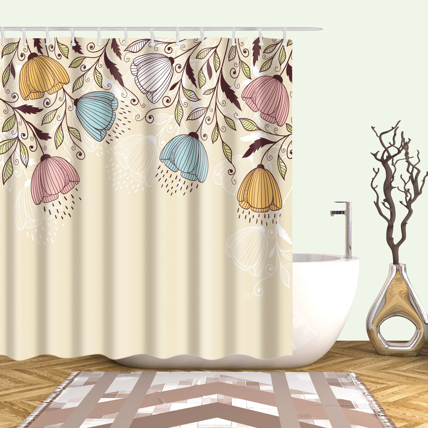 Blue and Brown Inverted Flowers Shower Curtain