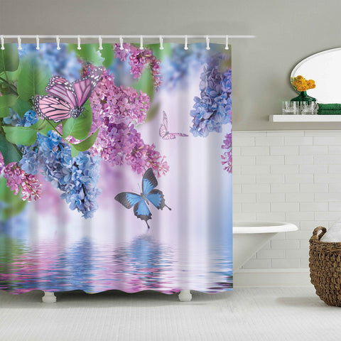 Blue and Pink Violet Floral Butterfly River Shower Curtain