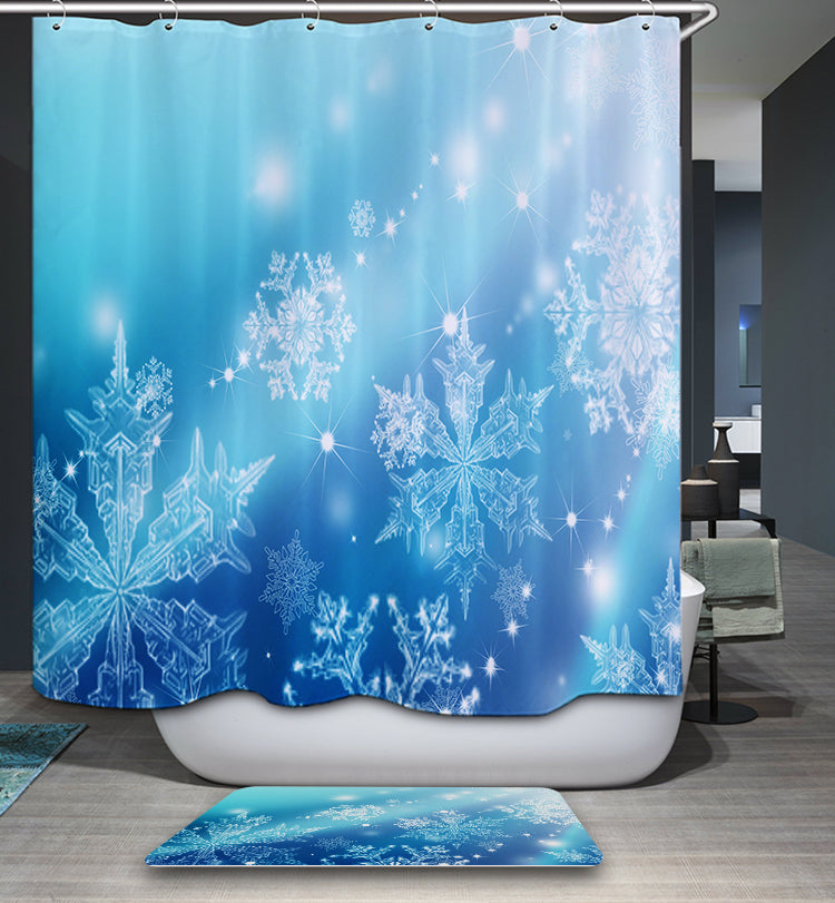 Blue and White Snowflake Shower Curtain
