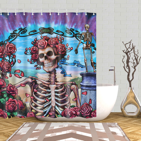 Blues for Challah Rose Skull Grateful Dead Shower Curtain