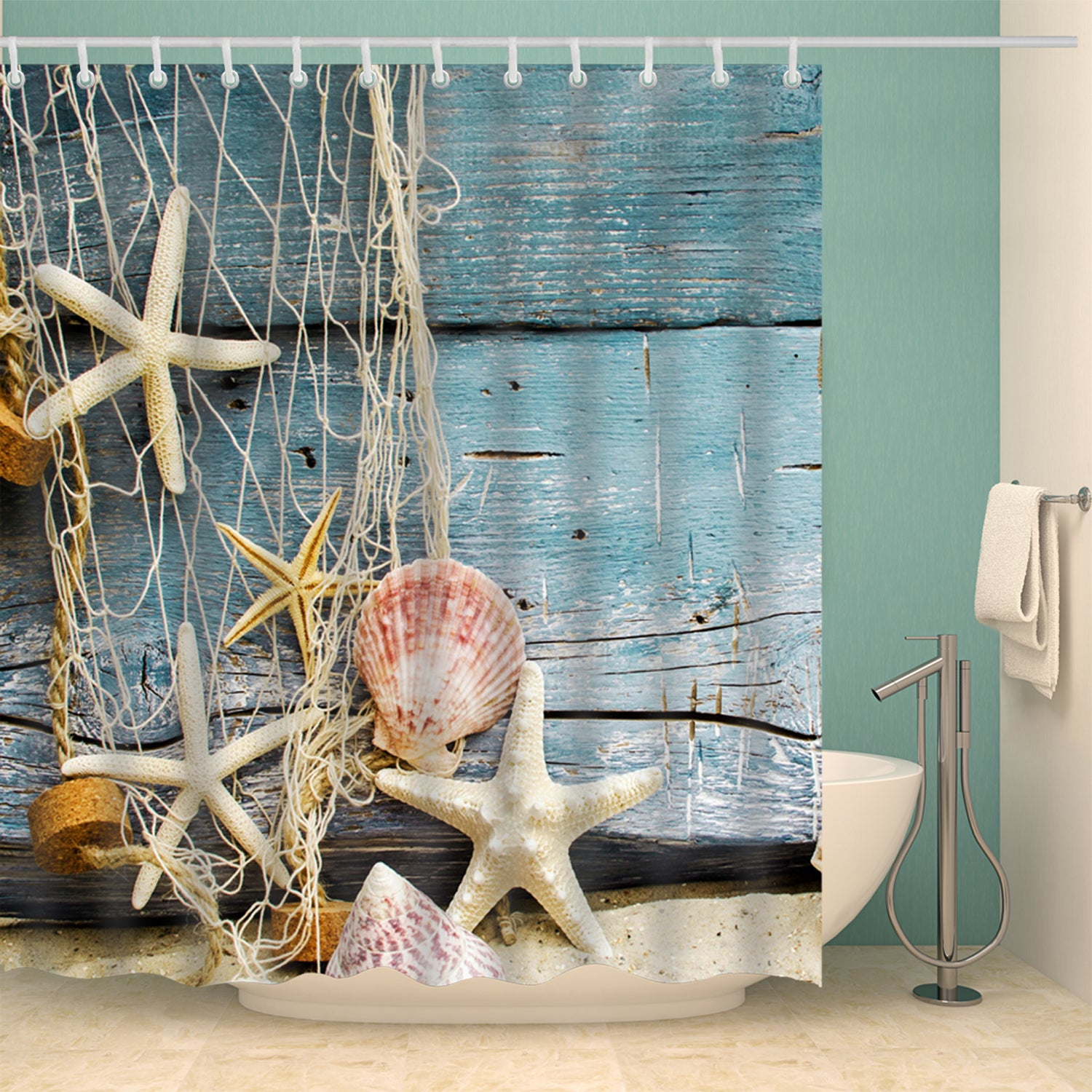 Board Starfish Shower Curtain Blue Woodprint Board Beach Bathroom Curtains