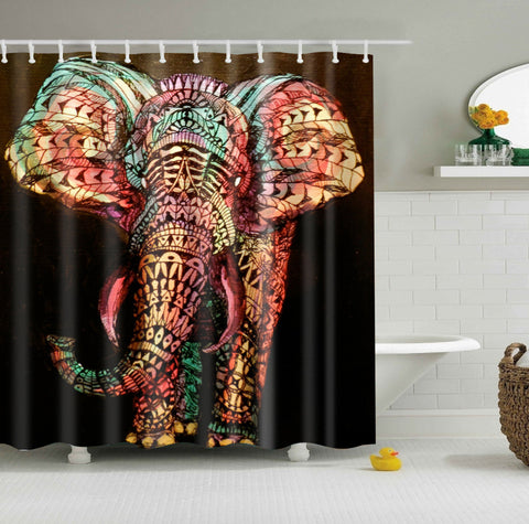 Bohemian Elephant Shower Curtain Art Bathroom Decor
