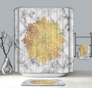 Bohemian Style Marble Shower Curtain