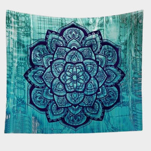 Bohemian Turquoise Floral Pattern Lotus Tapestry