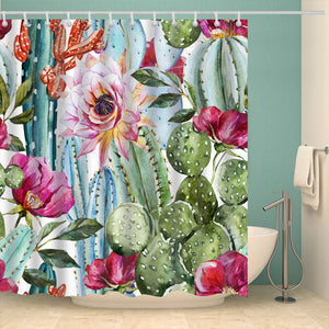 Boho Watercolor Cactus Seamless Shower Curtain