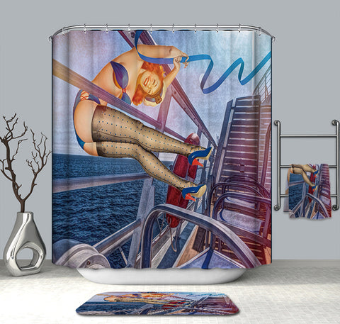 Boot Ship Pin Up Girl Party Shower Curtain