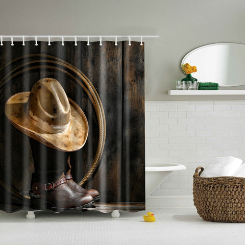 Boots and Hat Western Cowboy Shower Curtain