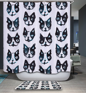 Boston Terrier Facial Expression Shower Curtain